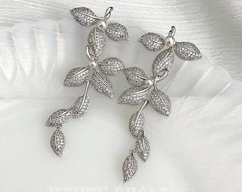 "Boho Bohemian Vintage Bridal Crystal Botanical Chandelier Earrings-Grecian Greek Goddess Pave Cubic Zirconia Leaf Leaves Earrings-""SOLANGE"""