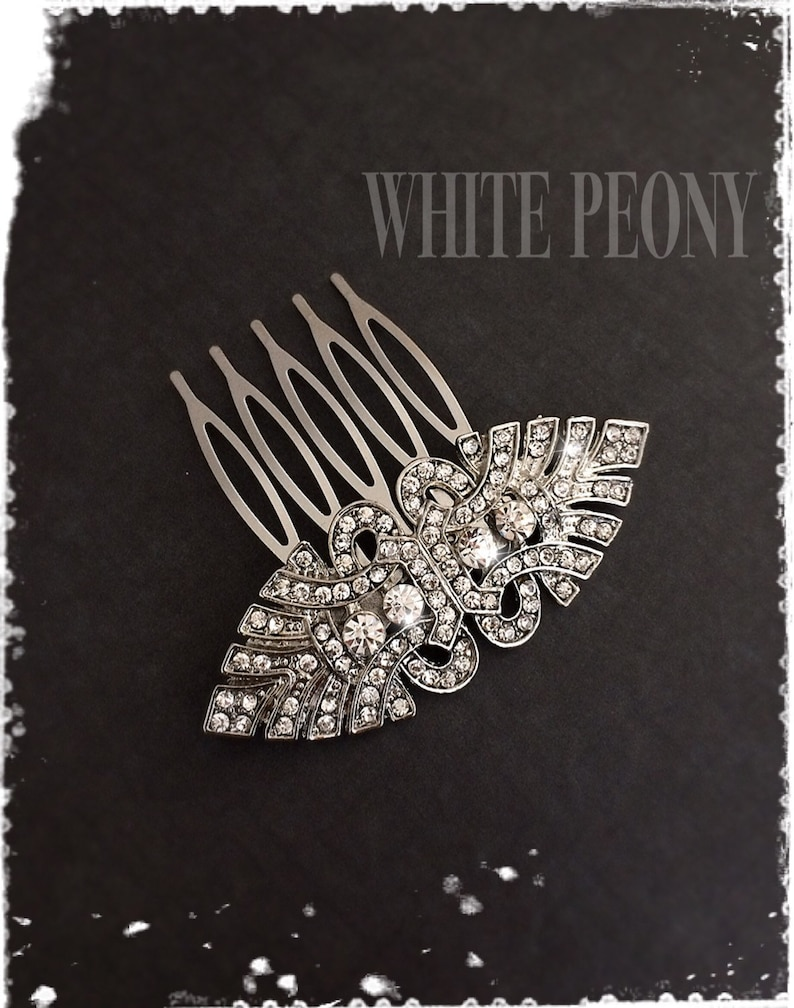 1920s Art Deco Great Gatsby Inspired Crystal Hair Comb-Downton Abbey Wedding Hair Accessories-Bridal Bridesmaids Vintage Deco Comb-JULIET