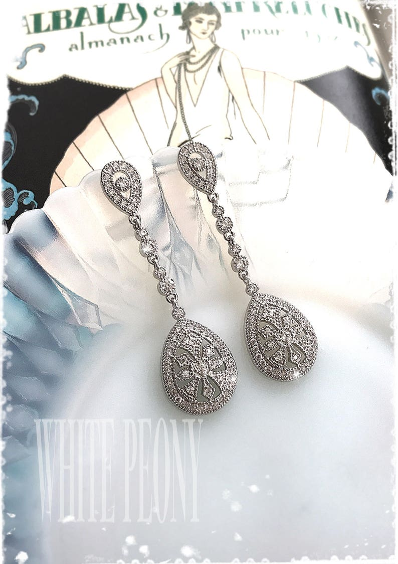 1920s Art Deco The Great Gatsby Inspired Bridal Crystal Drop image 0
