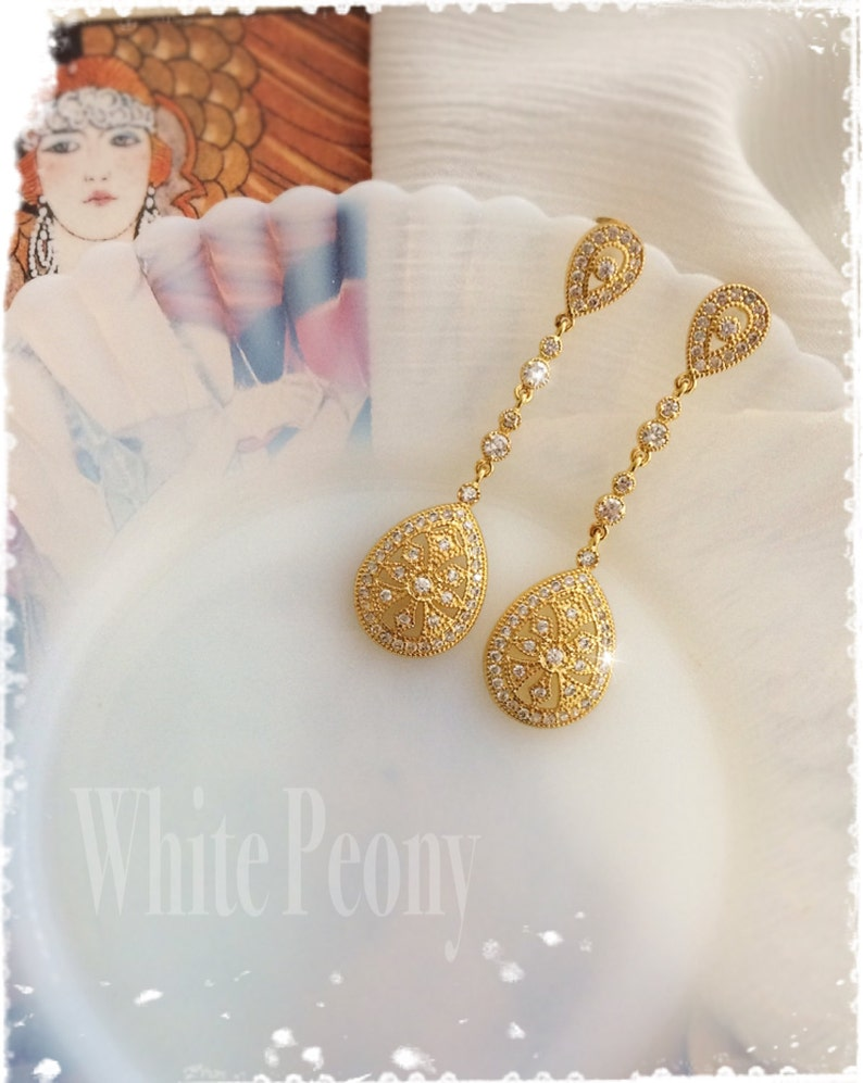 1920s Art Deco Gatsby Inspired Bridal Crystal Drop Gold image 0