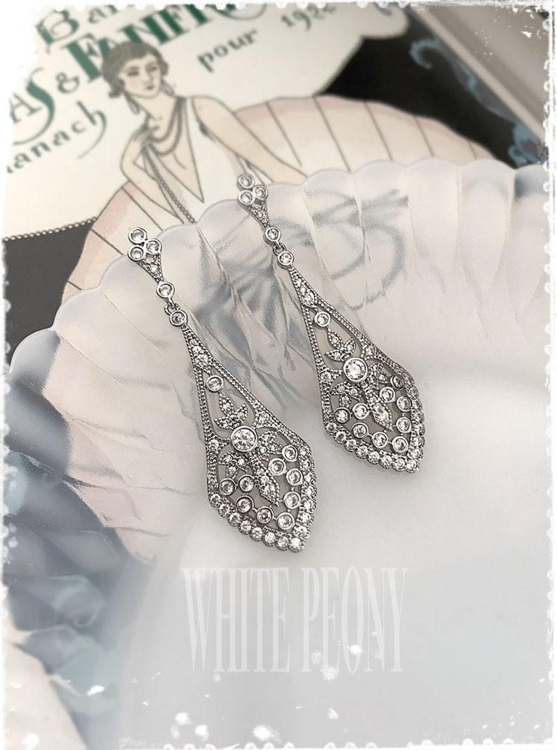 Art Deco Gatsby Style Bridal CZ Crystal Dangle Earrings-1920s image 0