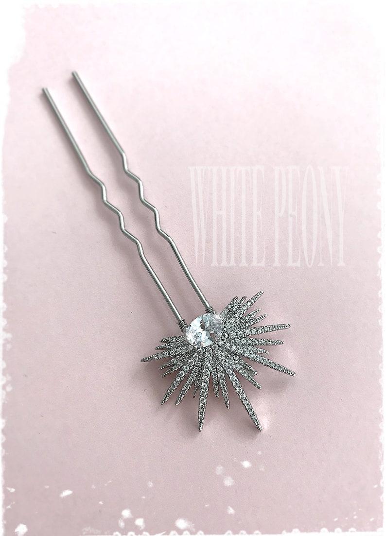Crystal Starburst Bridal Hair Pin Hair Accessory-Vintage Art Deco Gatsby Old Hollywood Boho Wedding Cubic Zirconia CZ Star Hairpin-ASTRAIA