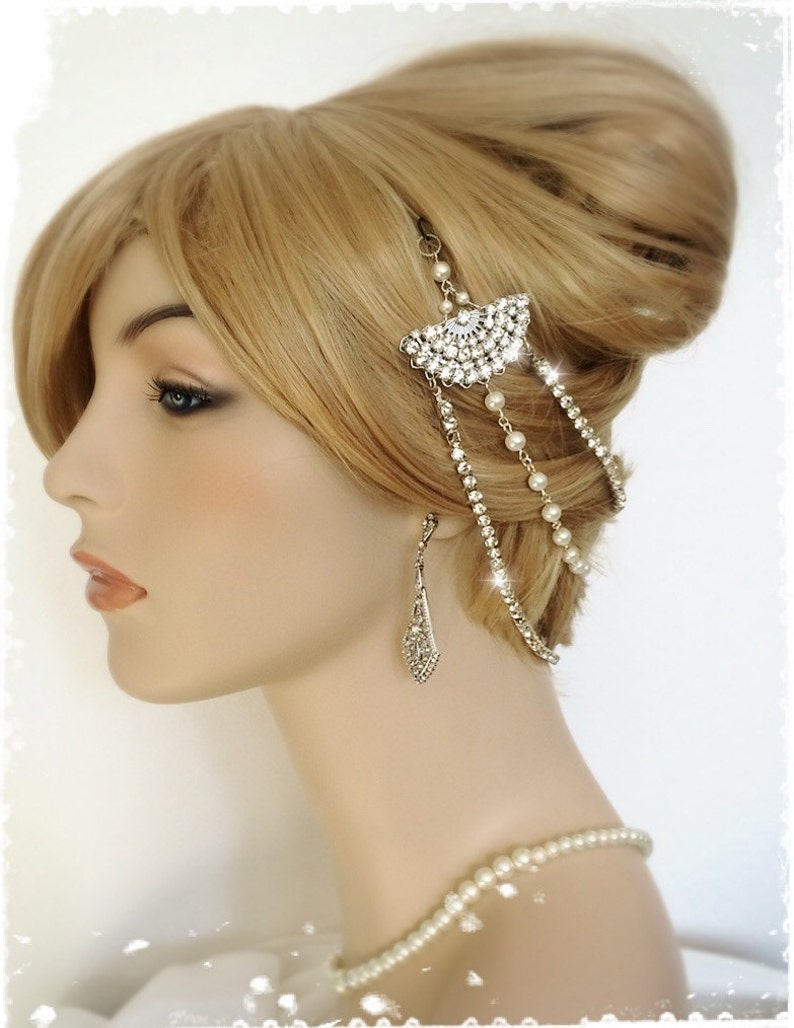 The Great Gatsby Inspired Crystal Fan Headpiece-1920s Art Deco image 0