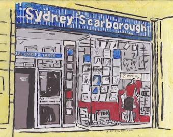 Hull art Limited edition postcard of Original acrylic painting art of Sydney Scarborough Records, Kingston upon hull