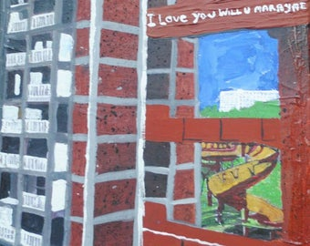 Park hill flats sheffield brutal architecture acrylic painting