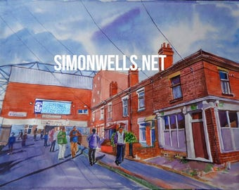 Coventry City Highfield Road art painting print. A3 gloss/silk poster from original artwork for #Coventry 2021 city of culture football