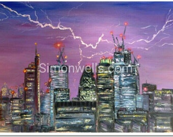 London lightning storm print of original oil painting including skyline skyscrapers gherkin A4 silk print ideal for London homes/offices