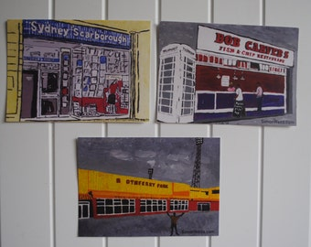 5 Hull art postcards in set (Boothferry Park, Hull City, Bob Carvers, Sydney Scarborough Records, spiders & ABC cinema) of acrylic paintings