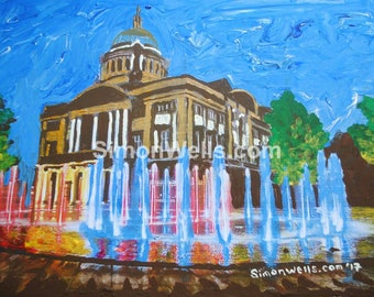 Victoria Square fountains hull A5 print of original art