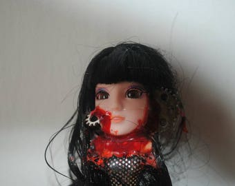 Goth horror steam punk girl made with vintage doll parts and cogs with blood measuring 18cm tall. 1 of 2