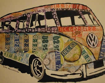 VW splitty split-screen camper van poster from tax discs: Limited edition A3 gloss/silk poster of original art using expired tax discs