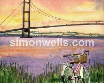Humber bridge at sunset watercolour a5 print on 200 gsm card stock hull