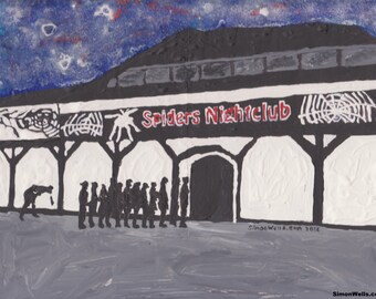 Spiders Nightclub Hull postcard from original art painting hull 2017 Limited edition