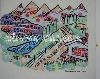 """Tax disc art landscape mountain collage unique UK vehicle excise duty on ethically sourced wood velology tax disk measuring 20"""" x 20""""  inch"""