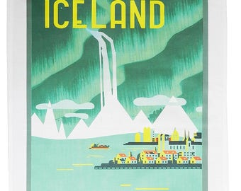 Visit Iceland- Retro Style Travel Poster Large Cotton Tea Towel