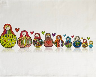 Large Cotton Tea Towel by Half a Donkey Colourful Owls