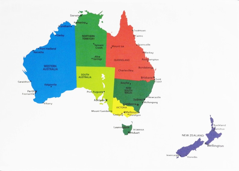 Map Of Australia Tasmania And New Zealand.Colourful Map Of Australia Of New Zealand Showing The Main Etsy