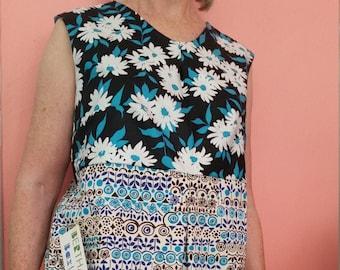 Bertha Baxter Blue Heaven Funky Flower Power Dress Size 12-14