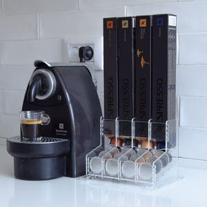 Double Sided Display Coffee Capsules Storage Holder Organizer,Black Coffee Pod Rack Can Hold 60 Capsules,Compatible with Nespresso capsules