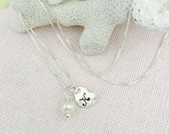 Bridesmaid, Maid of Honor, Mother of Bride, Mother of Groom, or flower girl sterling silver necklace, wedding party discount