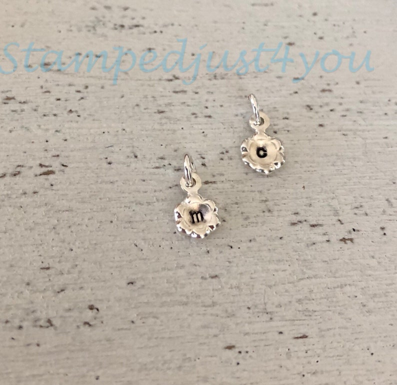 Sterling Silver Initial Flower Charm