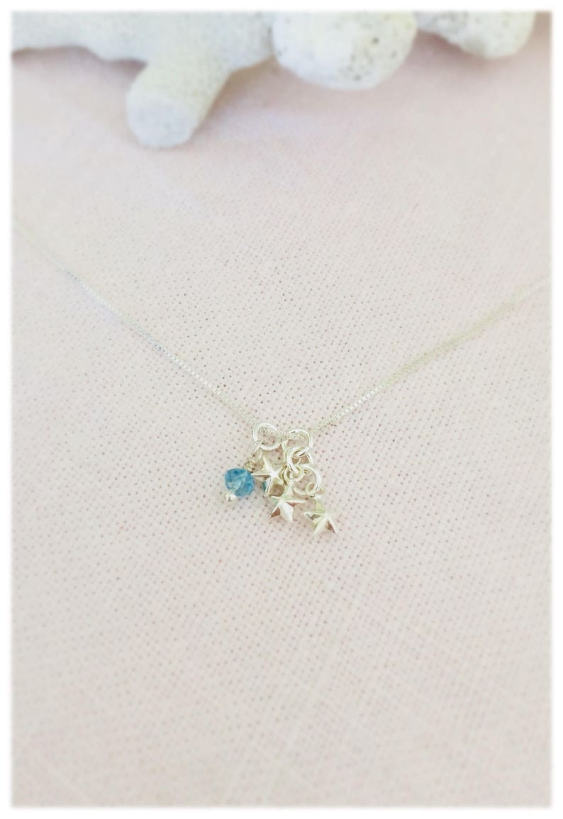 Reach for the Stars Blue Topaz Gemstone Necklace Sterling Silver Star Charm Necklace