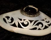 Victorian Snuff Perfumer Etui Box Mother of Pearl Antique Shell Carved Shell Black Oval Stone Silvertone Attachment