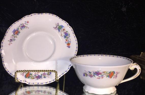 Royal Limoges Ocean Le Blanc soupe tasse /& soucoupe