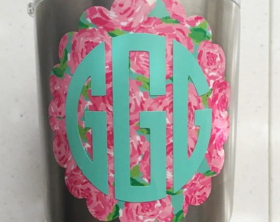 Lilly Pulitzer Dual Color Scallop Monogram Decal - Choose Your Size & Pattern