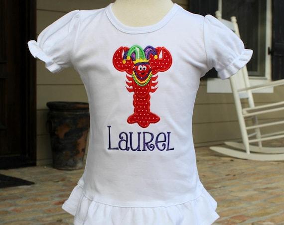 Girls Ruffled Mardi Gras Crawfish Shirt