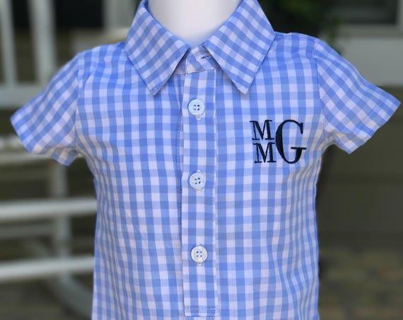 Boys Monogrammed Gingham Shortall (12 mon)