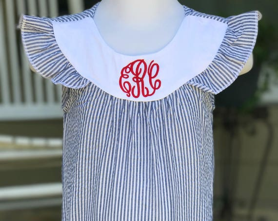 Monogrammed Navy Seersucker Bubble
