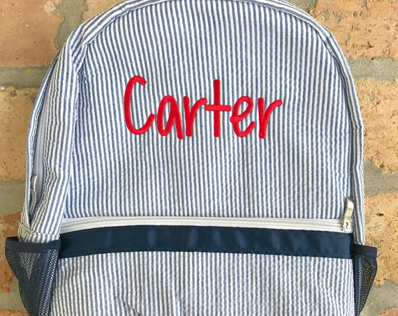 Monogrammed Seersucker Backpack - Multiple Colors Available
