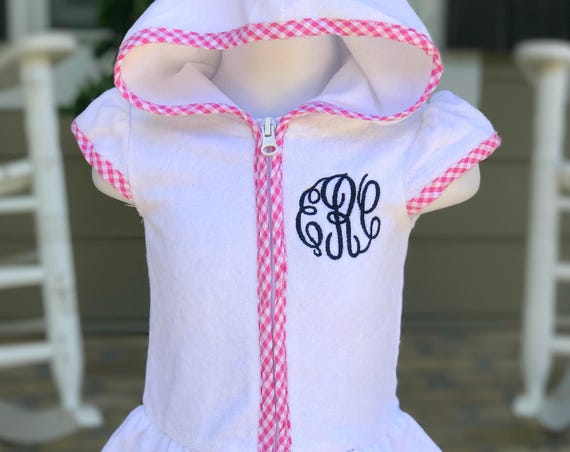 Girls Monogrammed Terry Cloth Cover Up