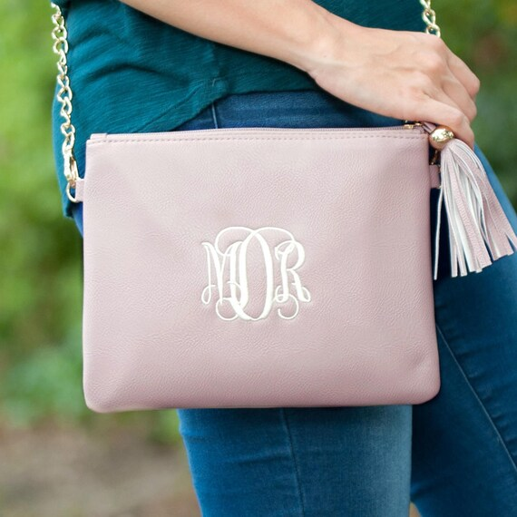 Monogrammed Crossbody Clutch / Purse - Blush