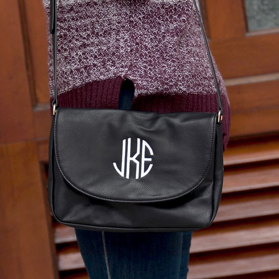 Monogrammed Cross Body Purse - Black