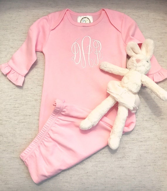 Monogrammed Ruffled Baby Gown