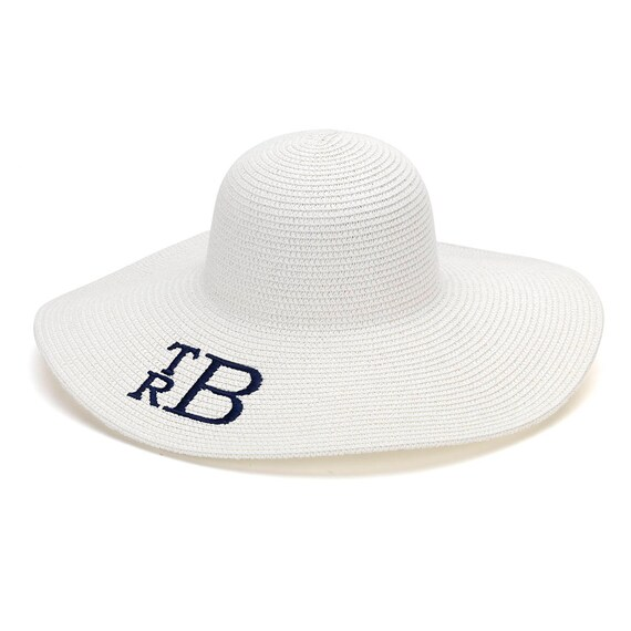 SALE - White Monogrammed Floppy Hat