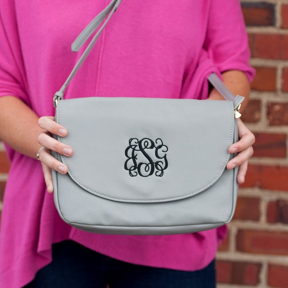 Monogrammed Cross Body Purse - Grey