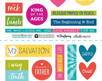 Illustrated Faith His Name stickers