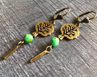 A bit of forest - earrings green and bronze