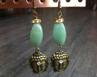 Long earrings ethnic bronze, Pearl rhinestone and Pearl aventurine Buddha head
