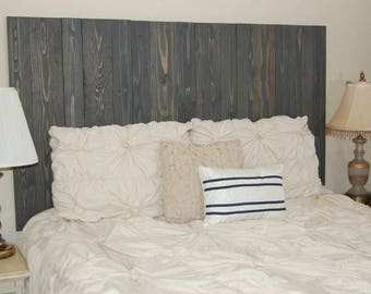 Charcoal Gray Headboard Full Size Stain, Hanger Style, Handcrafted. Mounts  On Wall. Easy Installation