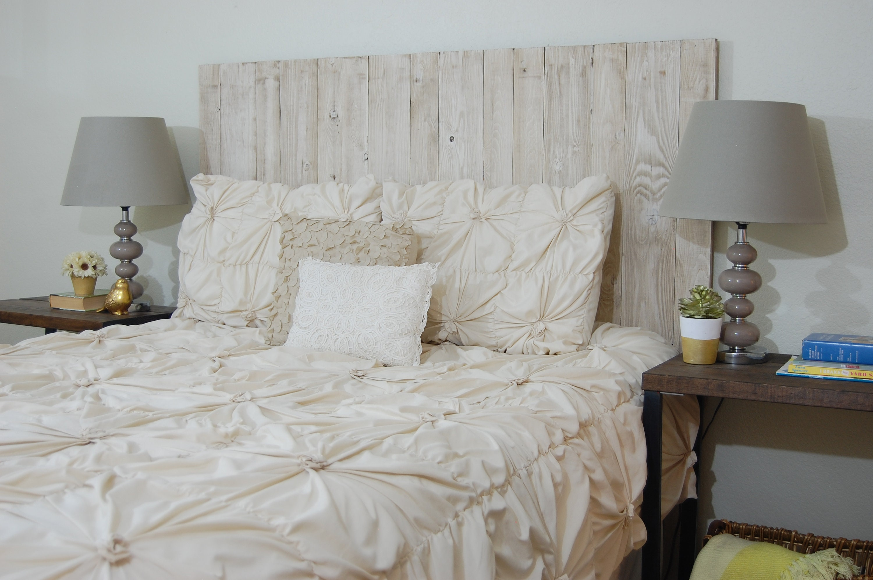 Whitewash Headboard Full Size Weathered Hanger Style Handcrafted