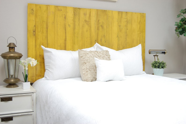 big sale 534c5 bec77 Yellow Headboard Weathered, Hanger Style, Handcrafted. Mounts on Wall. Easy  Installation. Twin, Full, Queen, King, California King