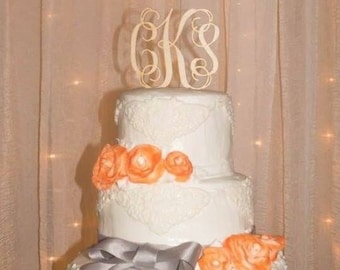 Monogram Wedding Cake Topper - Cake Topper - Wedding Cake Topper - wooden wedding cake topper