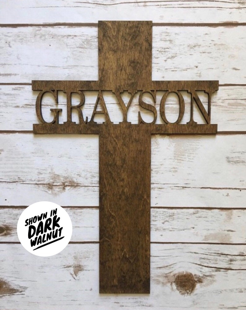 Baptism gift first communion gift Personalized Cross Wooden image 0