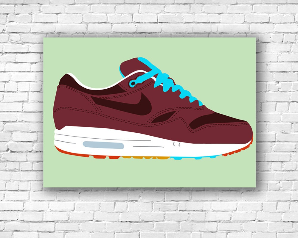 new product 619c2 059bc Nike Air Max 1 Patta x Parra Cherrywood Illustration Print   Etsy