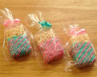 Chocolate Covered Rice Krispies Treats w/ White Sprinkles - Custom Colors, 1 Dozen