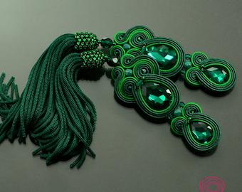 Green tassel earrings Emerald II, greenery soutache earrings, long tassel earrings boho earrings statement earrings beaded tassel earrings